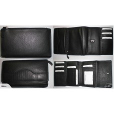 RFID Signal Blocking Trifold Purse - Black Leather