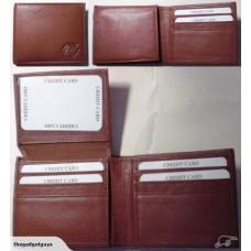 Leather RFID Blocking Card Flip Wallet - Brown