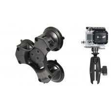 RAM Action Camera / GoPro mount with Triple Suction Cup Base